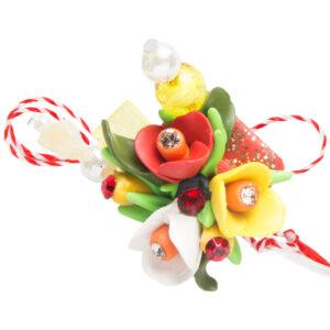 Martisor brosa buchet flori, Miidefloriart, model 72