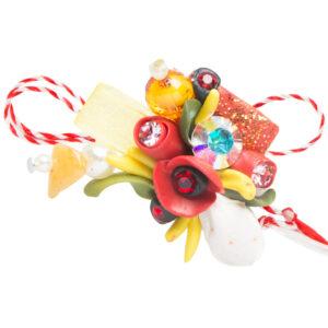 Martisor brosa buchet flori, Miidefloriart, model 79
