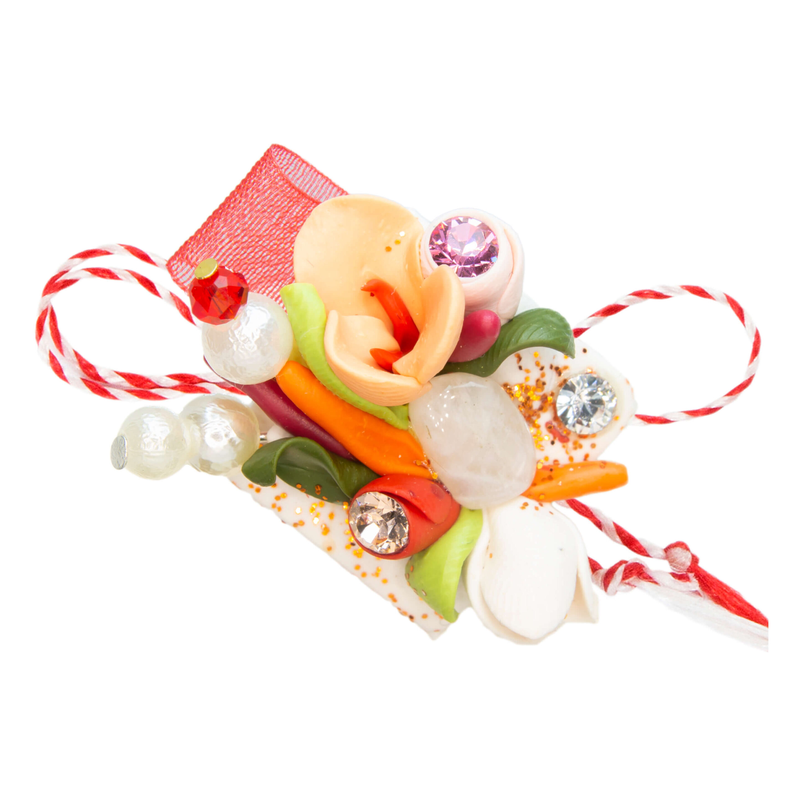 Martisor brosa buchet flori, Miidefloriart, model 47