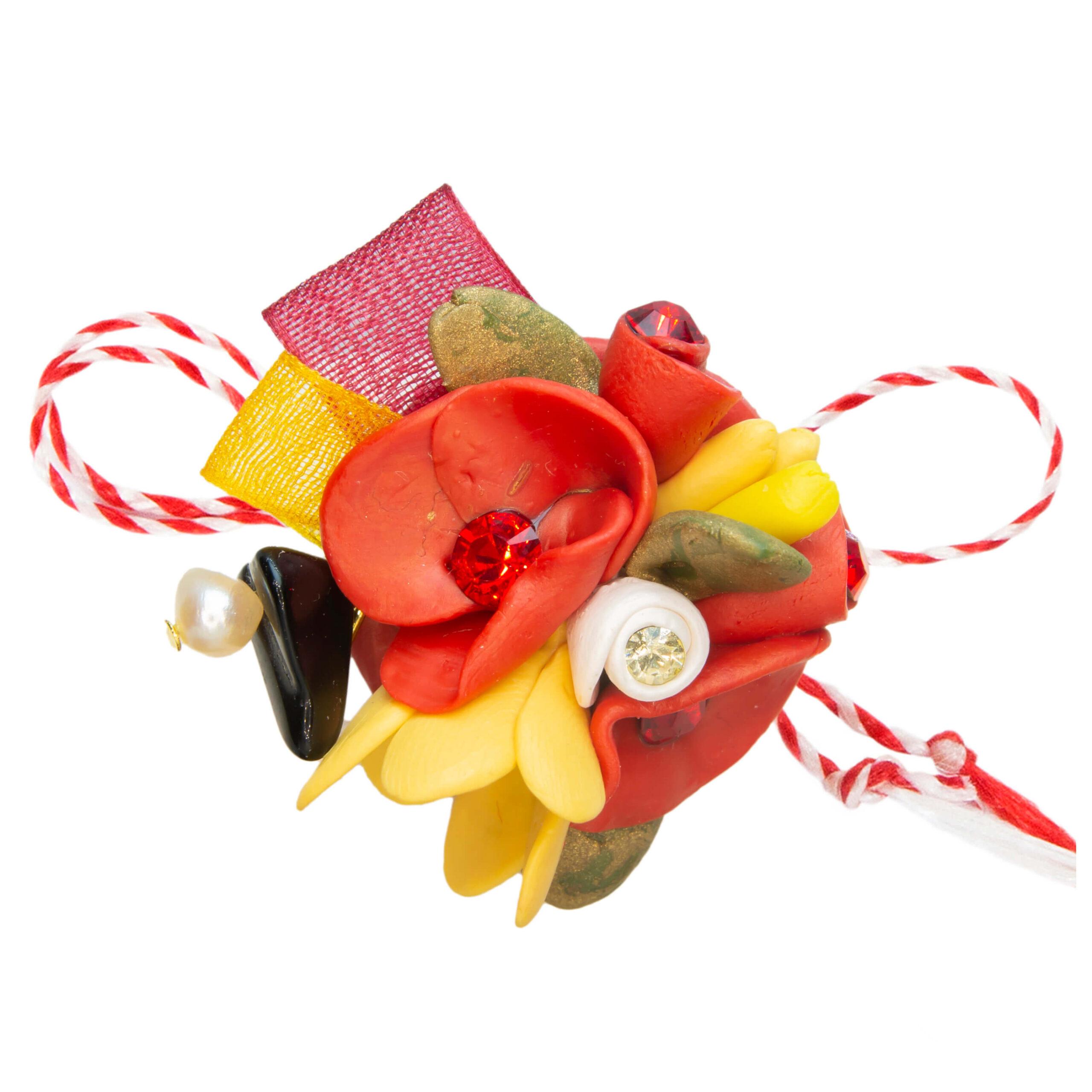 Martisor brosa buchet flori, Miidefloriart, model 50