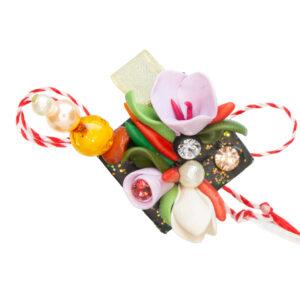 Martisor brosa buchet flori, Miidefloriart, model 55