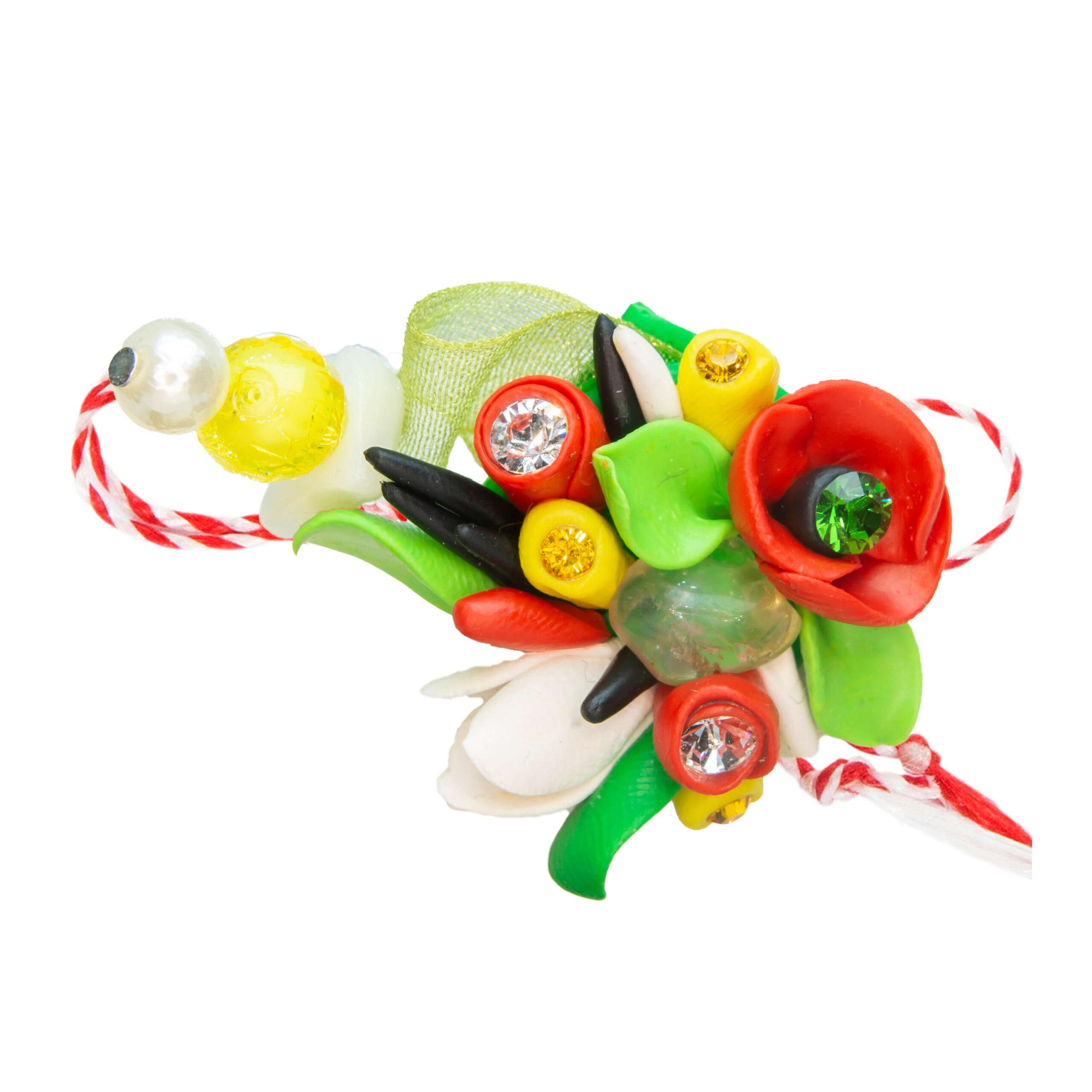 Martisor brosa buchet flori, Miidefloriart, model 58