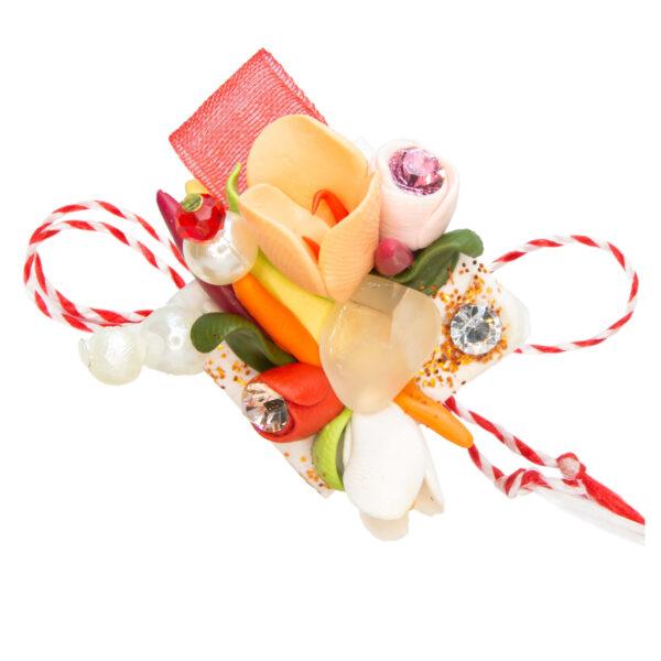 Martisor brosa buchet flori, Miidefloriart, model 60