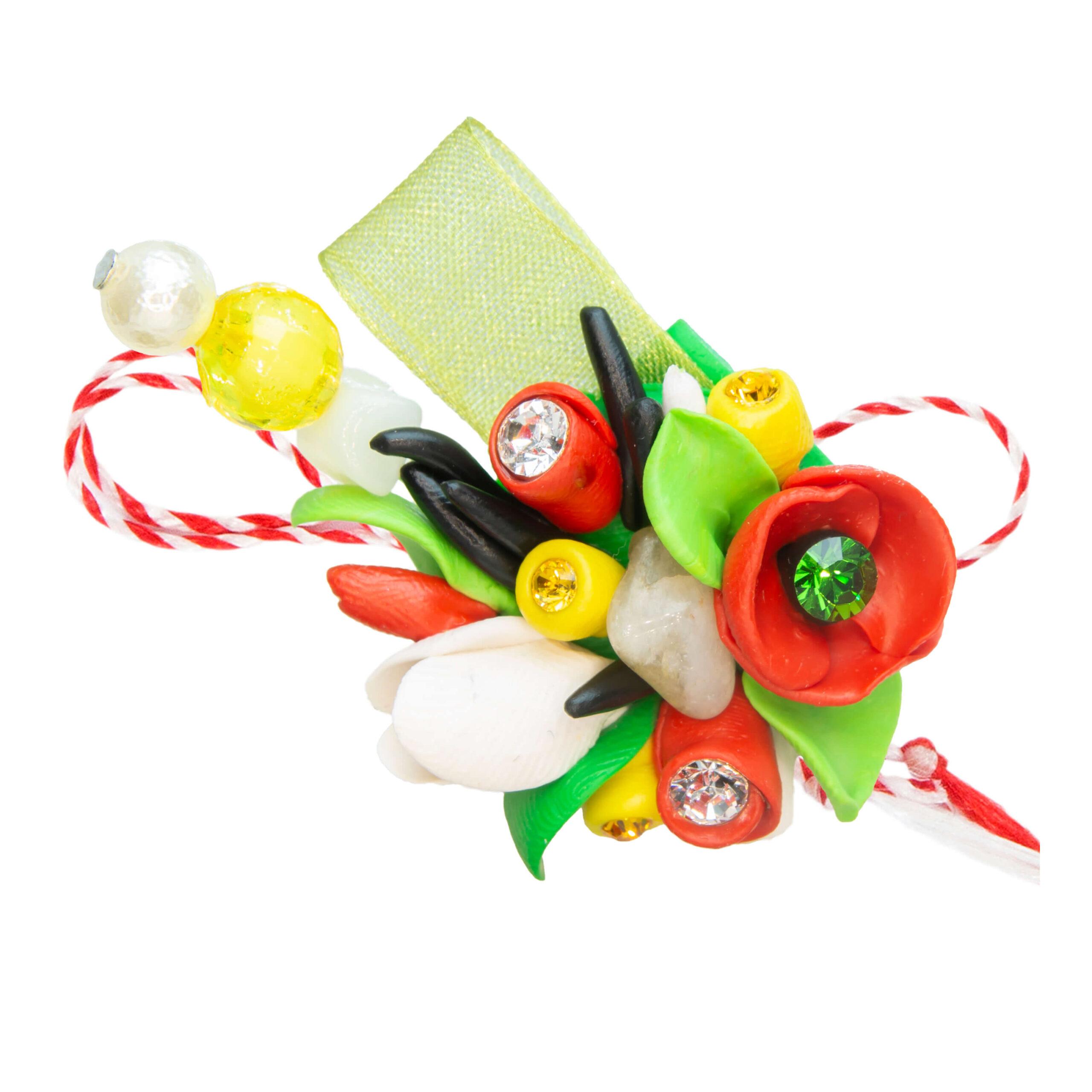 Martisor brosa buchet flori, Miidefloriart, model 61