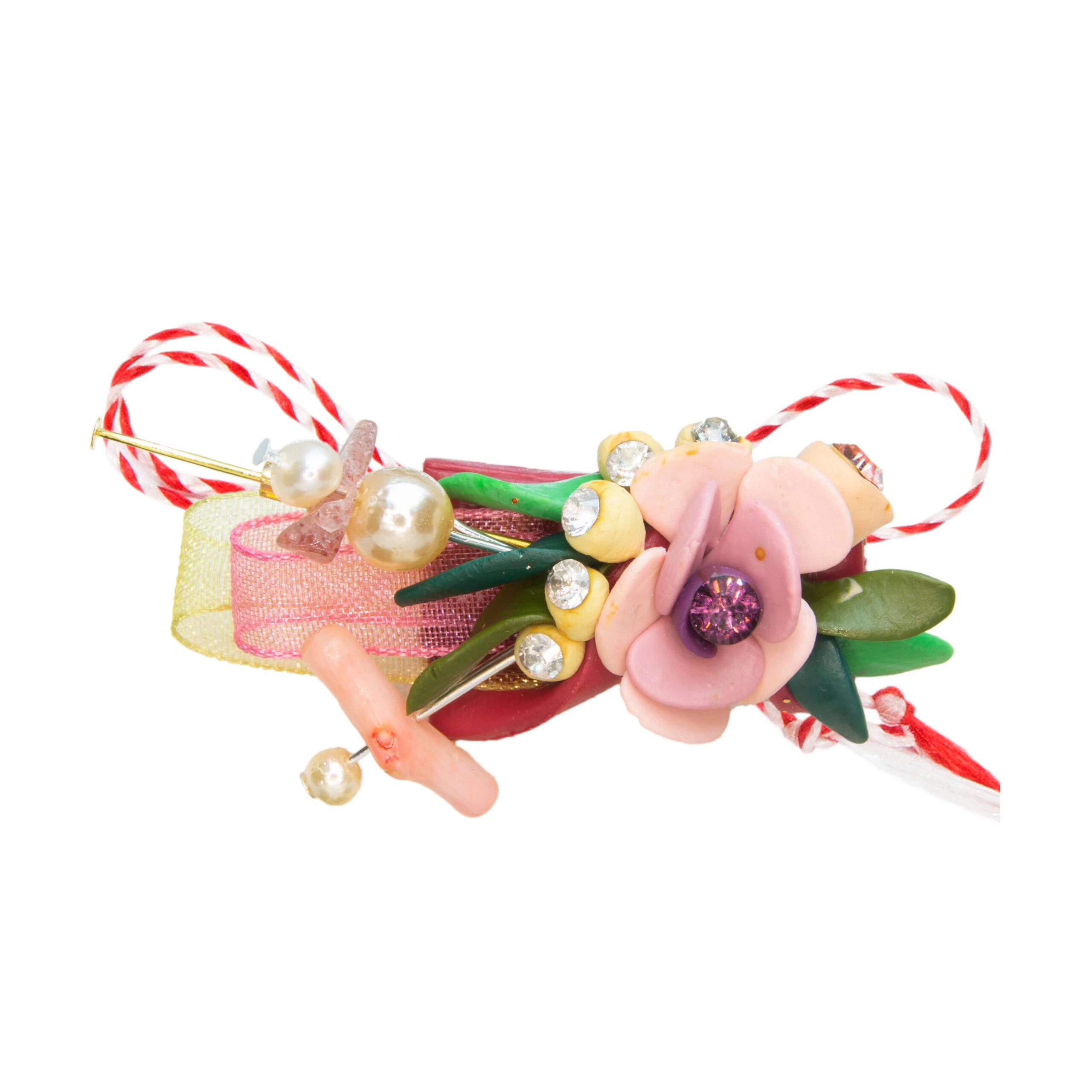 Martisor brosa buchet flori, Miidefloriart, model 66